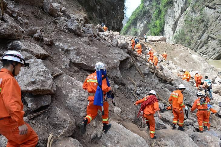 Trabalhos de resgate na província de Yunnan