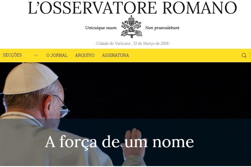 Francisco/5.º aniversário: Jornal da Santa Sé realça «força de um nome»